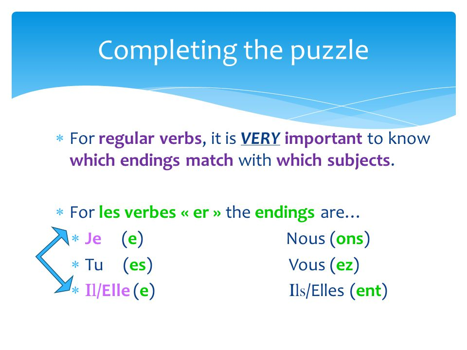 For regular verbs, it is VERY important to know which endings match with which subjects.