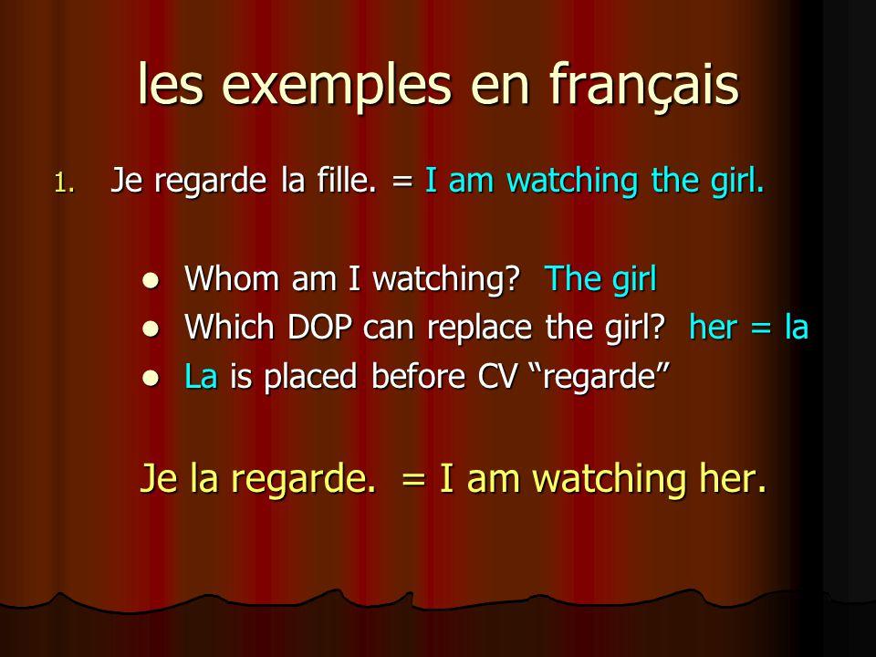 les exemples en français 2.Nous ne voyons pas la fille et le garçon.