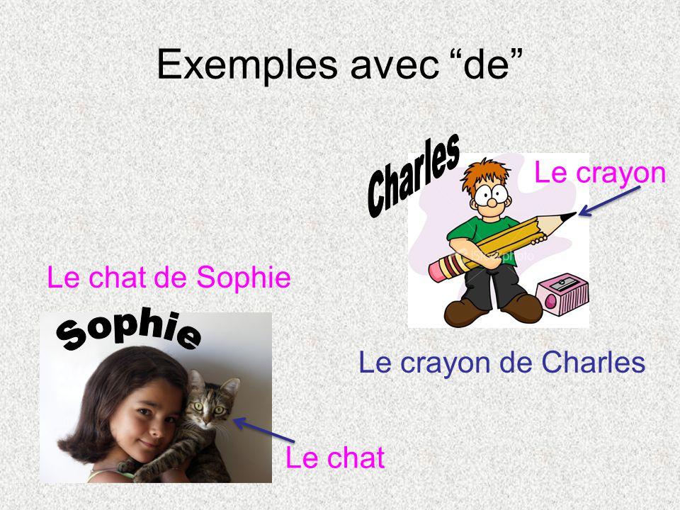 Exemples avec de Le chat de Sophie Le crayon de Charles Le chat Le crayon