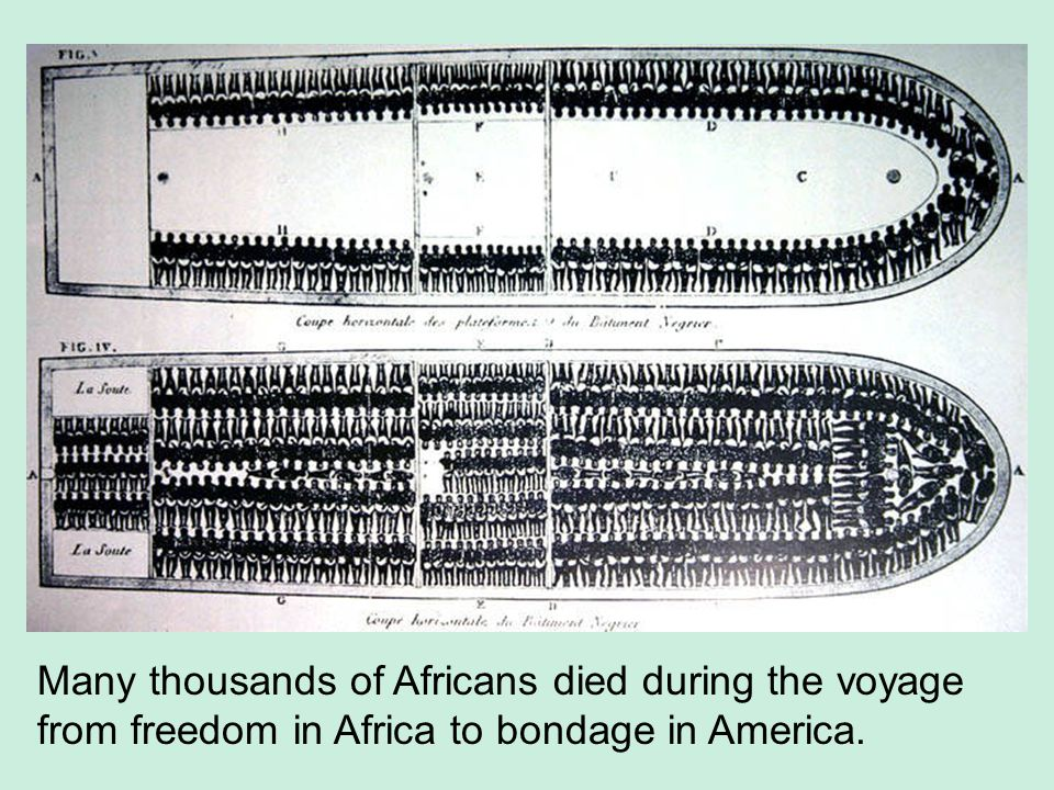 Many thousands of Africans died during the voyage from freedom in Africa to bondage in America.