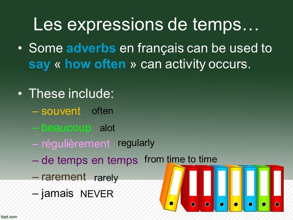 Les expressions de temps… Some adverbs en français can be used to say « how often » can activity occurs. These include: –souvent –beaucoup –régulièrem