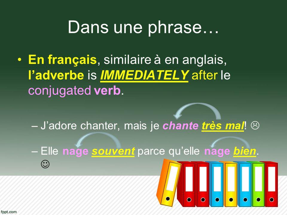 Dans une phrase… En français, similaire à en anglais, ladverbe is IMMEDIATELY after le conjugated verb. –Jadore chanter, mais je chante très mal! –Ell
