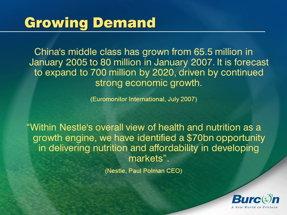 Growing Demand China s middle class has grown from 65.5 million in January 2005 to 80 million in January 2007.