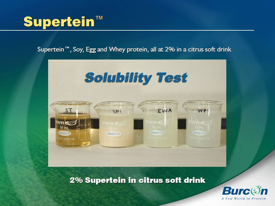 Supertein 2% Supertein in citrus soft drink Supertein, Soy, Egg and Whey protein, all at 2% in a citrus soft drink