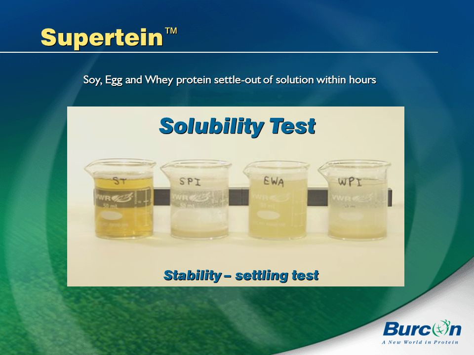 Supertein Solubility Test Stability – settling test Soy, Egg and Whey protein settle-out of solution within hours