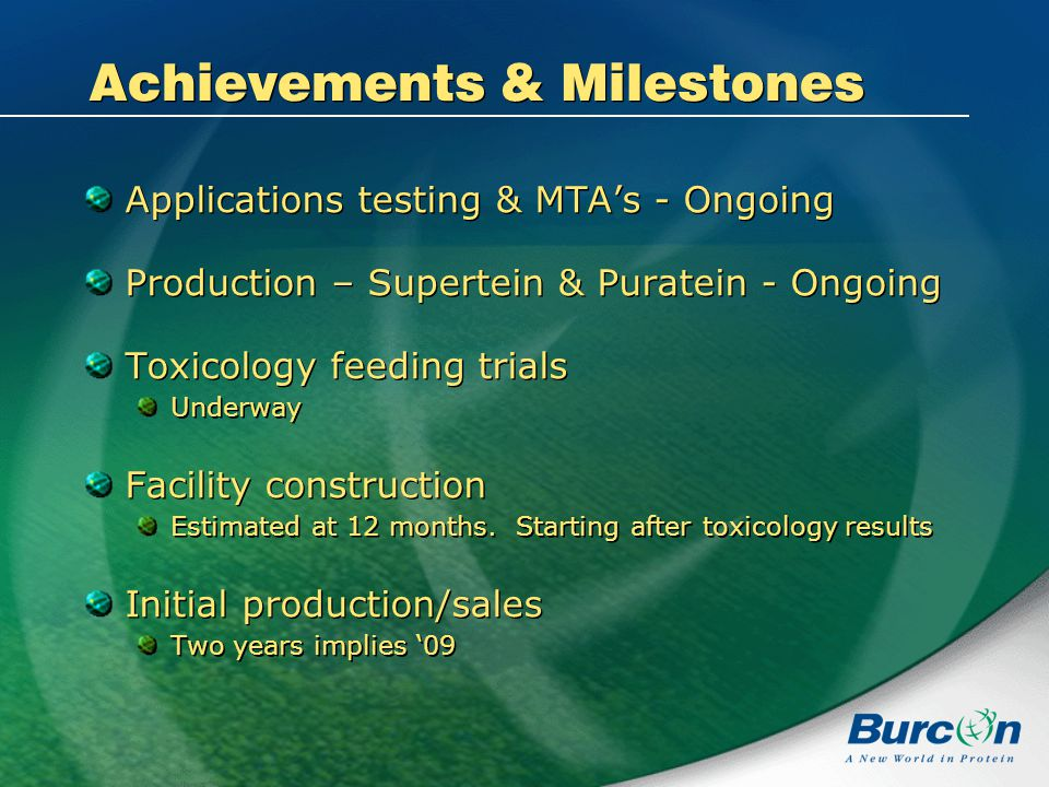 Achievements & Milestones Applications testing & MTAs - Ongoing Production – Supertein & Puratein - Ongoing Toxicology feeding trials Underway Facility construction Estimated at 12 months.