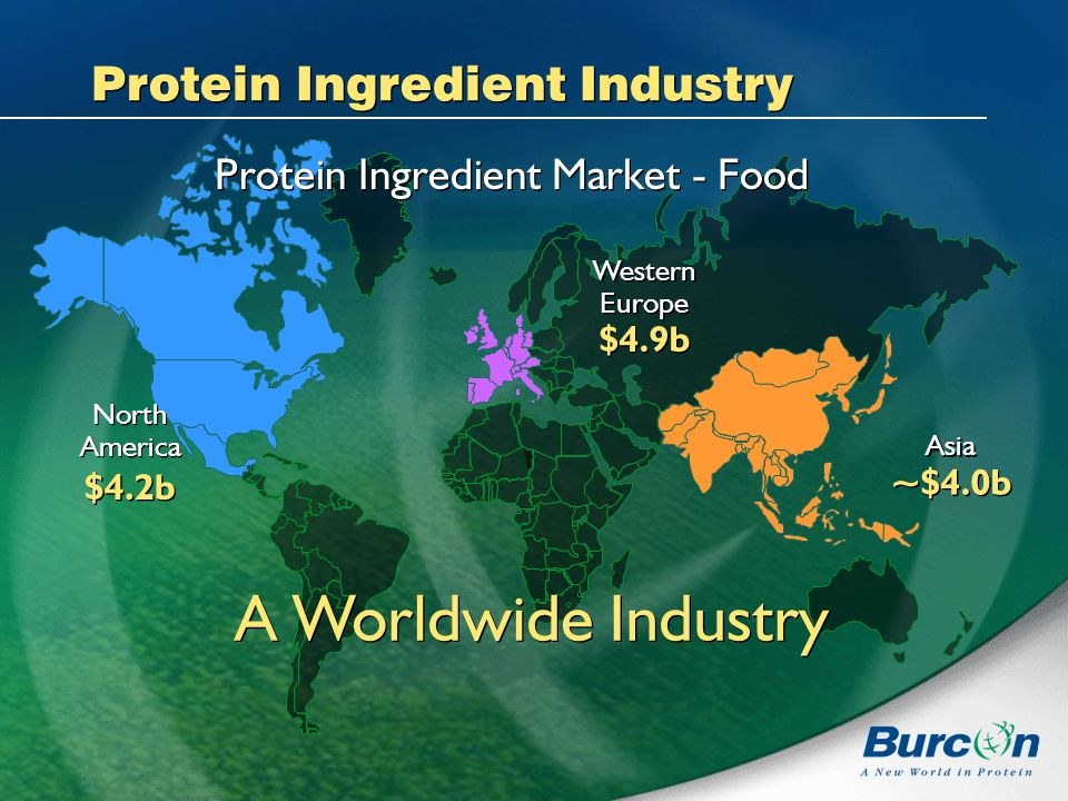 Protein Ingredient Industry Protein Ingredient Market - Food A Worldwide Industry North America $4.2b North America $4.2b Western Europe $4.9b Western Europe $4.9b Asia ~$4.0b Asia ~$4.0b