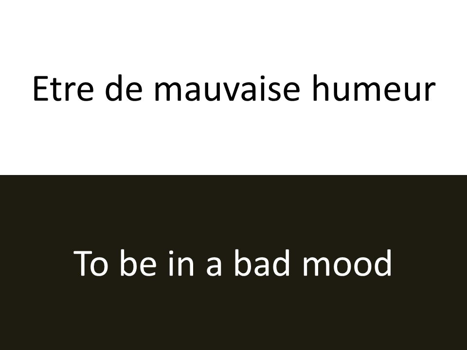 Etre de mauvaise humeur To be in a bad mood