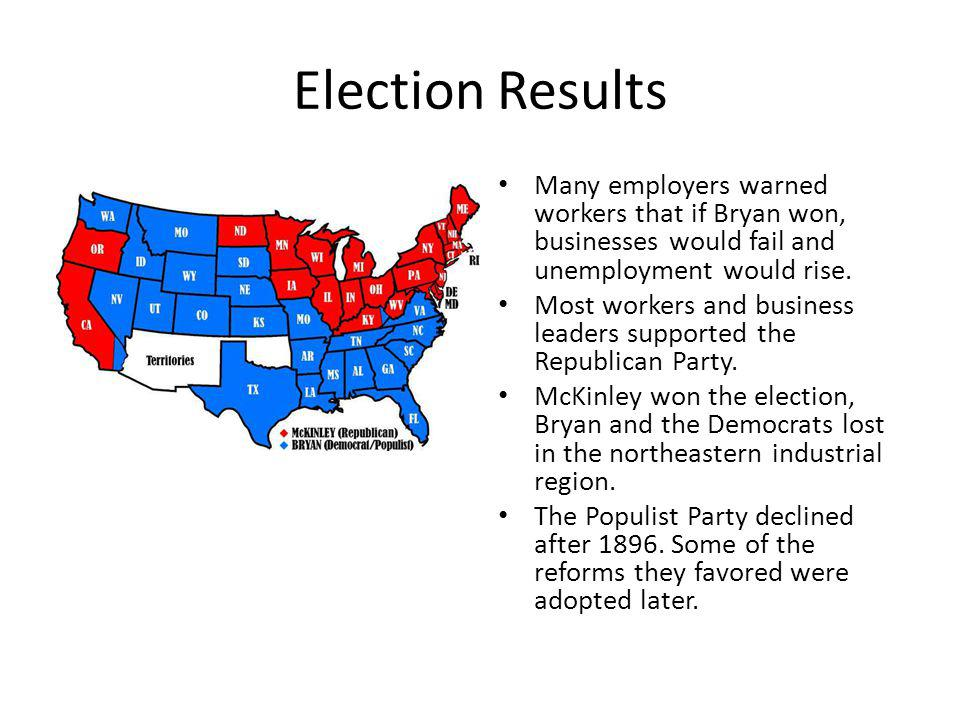 Election Results Many employers warned workers that if Bryan won, businesses would fail and unemployment would rise.
