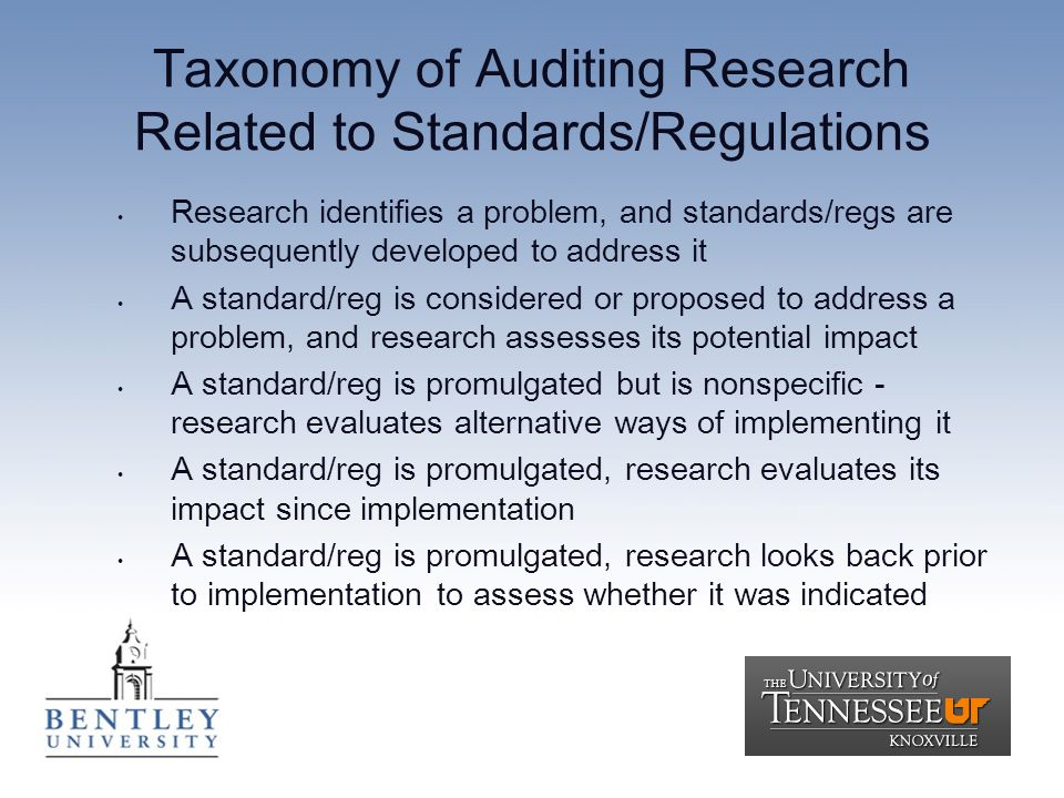 Taxonomy of Auditing Research Related to Standards/Regulations Research identifies a problem, and standards/regs are subsequently developed to address it A standard/reg is considered or proposed to address a problem, and research assesses its potential impact A standard/reg is promulgated but is nonspecific - research evaluates alternative ways of implementing it A standard/reg is promulgated, research evaluates its impact since implementation A standard/reg is promulgated, research looks back prior to implementation to assess whether it was indicated