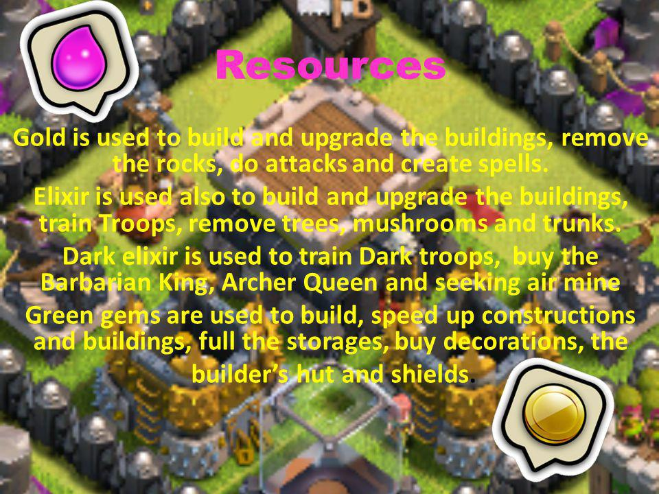 Defenses There are 14 different defenses wall, cannon, bomb, spring trap, air bomb, hidden tesla, x-bow, archer tower, mortar, air defense, wizard tower, giant bomb, seeking air mine and inferno tower.