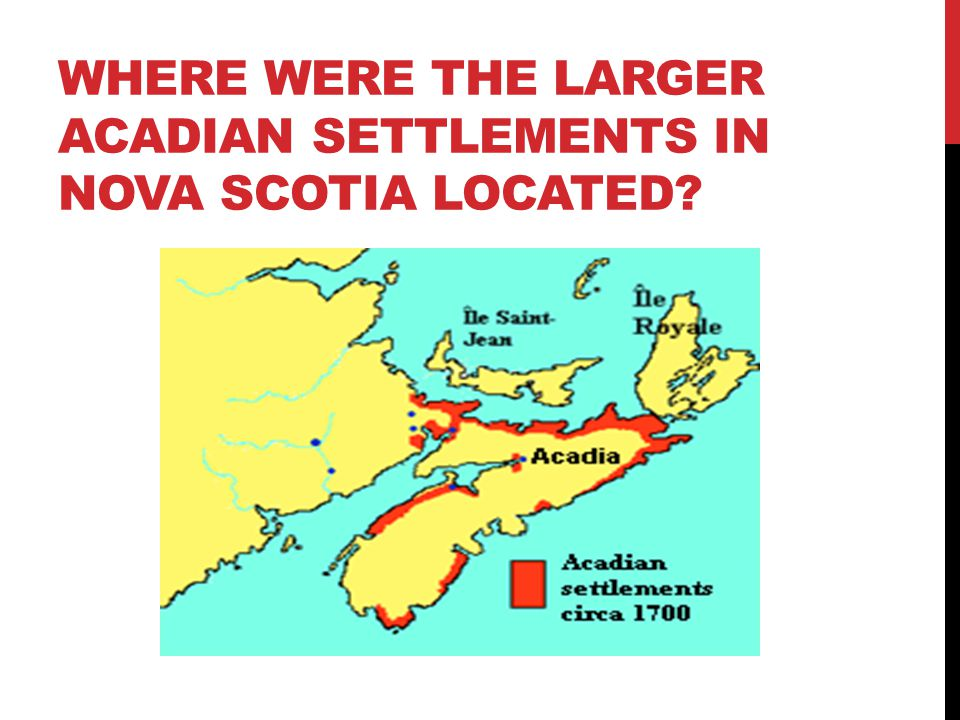 WHERE WERE THE LARGER ACADIAN SETTLEMENTS IN NOVA SCOTIA LOCATED?