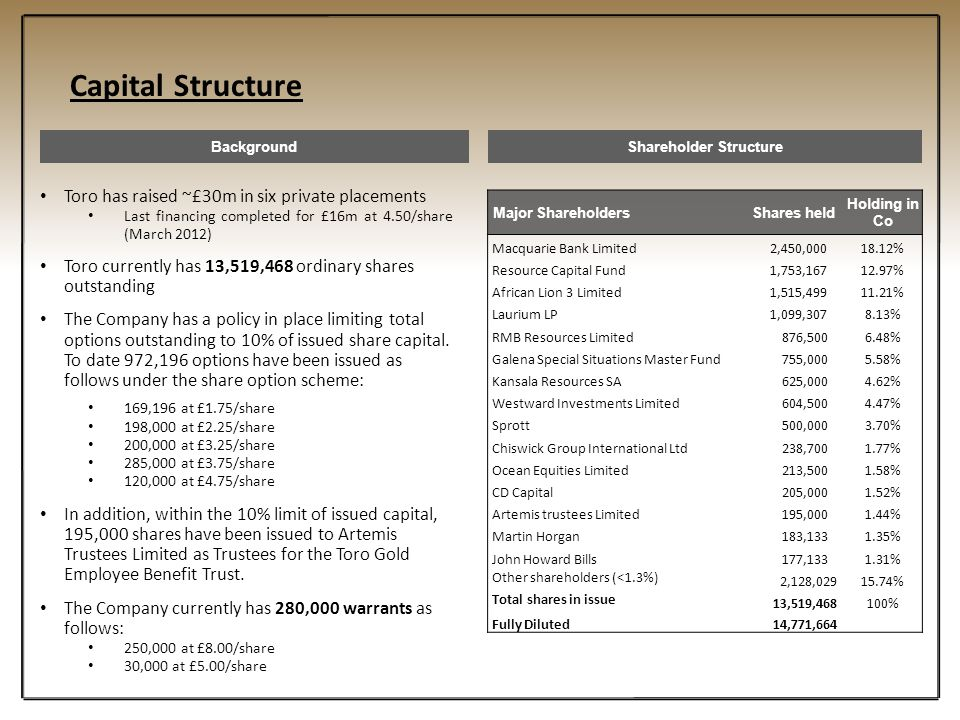 Capital Structure BackgroundShareholder Structure Toro has raised ~£30m in six private placements Last financing completed for £16m at 4.50/share (Mar