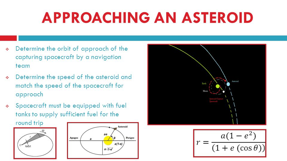 APPROACHING AN ASTEROID Determine the orbit of approach of the capturing spacecraft by a navigation team Determine the speed of the asteroid and match the speed of the spacecraft for approach Spacecraft must be equipped with fuel tanks to supply sufficient fuel for the round trip
