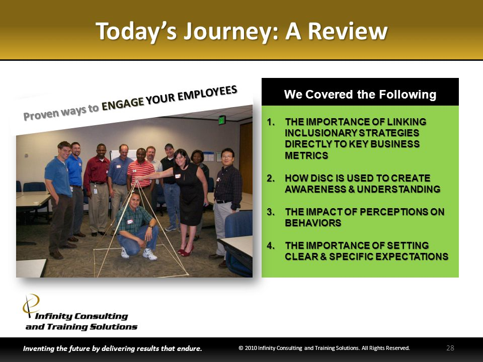 1.THE IMPORTANCE OF LINKING INCLUSIONARY STRATEGIES DIRECTLY TO KEY BUSINESS METRICS 2.HOW DiSC IS USED TO CREATE AWARENESS & UNDERSTANDING 3.THE IMPACT OF PERCEPTIONS ON BEHAVIORS 4.THE IMPORTANCE OF SETTING CLEAR & SPECIFIC EXPECTATIONS Todays Journey: A Review Inventing the future by delivering results that endure.