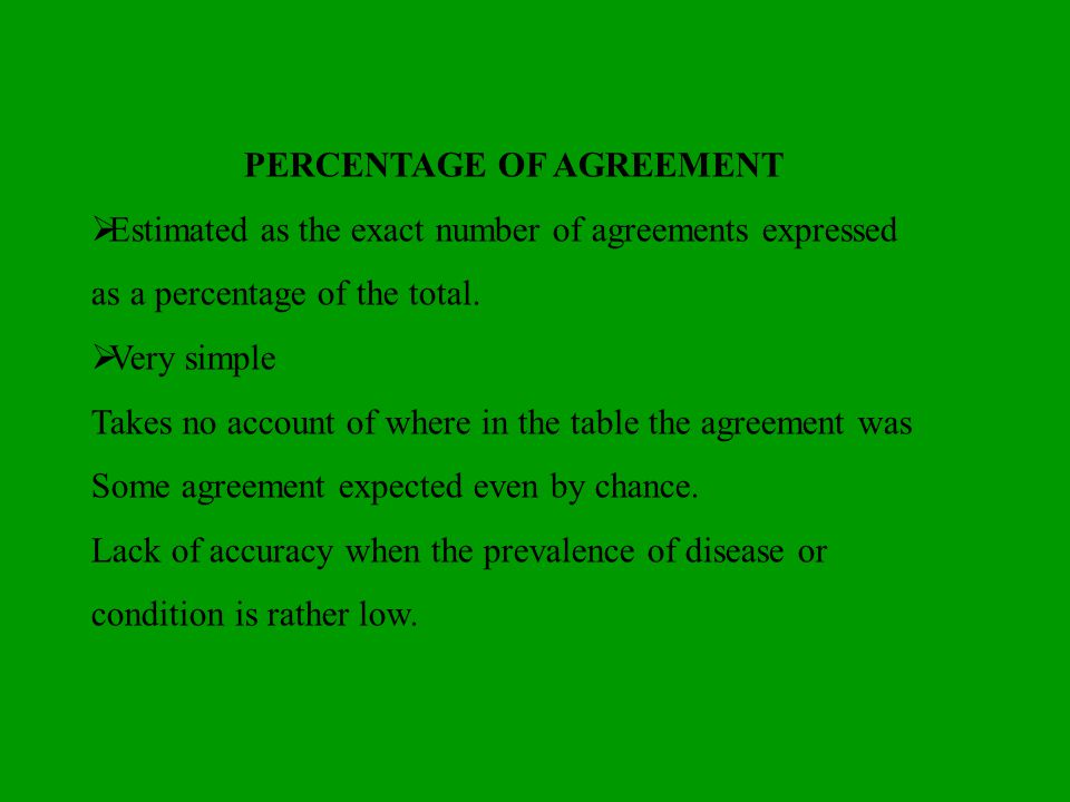 PERCENTAGE OF AGREEMENT Estimated as the exact number of agreements expressed as a percentage of the total. Very simple Takes no account of where in t