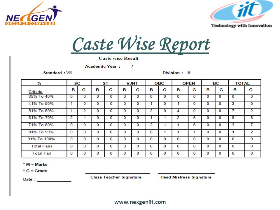 Caste Wise Report