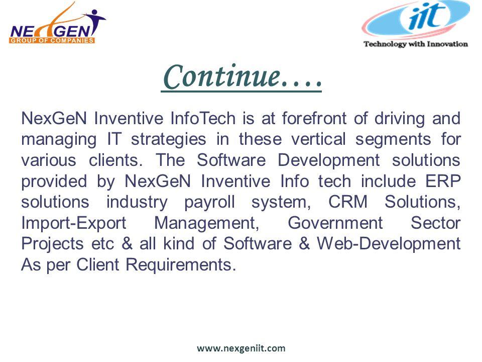 www.nexgeniit.com Continue….
