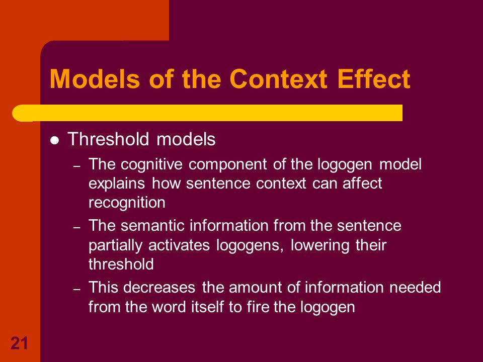 20 Relevant context helps recognition Misleading context makes recognition difficult Exposure duration necessary for recognition of the word (msec) 40 90 Amount of context provided (no.