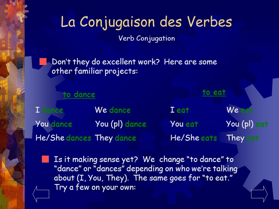 La Conjugaison des Verbes Verb Conjugation Watch carefully as our verb repair specialty crew conjugates an English verb in the present tense.