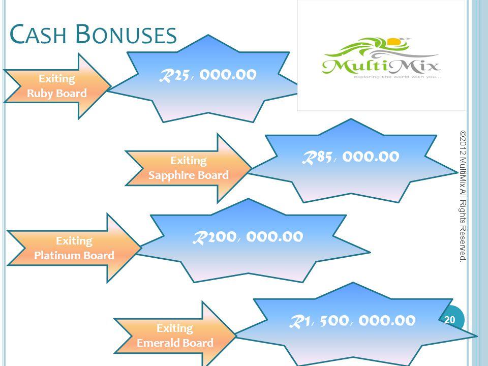 C ASH B ONUSES R25, 000.00 R85, 000.00 R200, 000.00 R1, 500, 000.00 Exiting Ruby Board Exiting Sapphire Board Exiting Platinum Board Exiting Emerald B