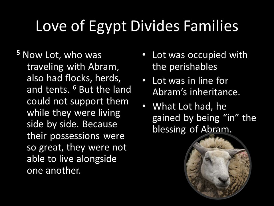Love of Egypt Divides Families 5 Now Lot, who was traveling with Abram, also had flocks, herds, and tents.