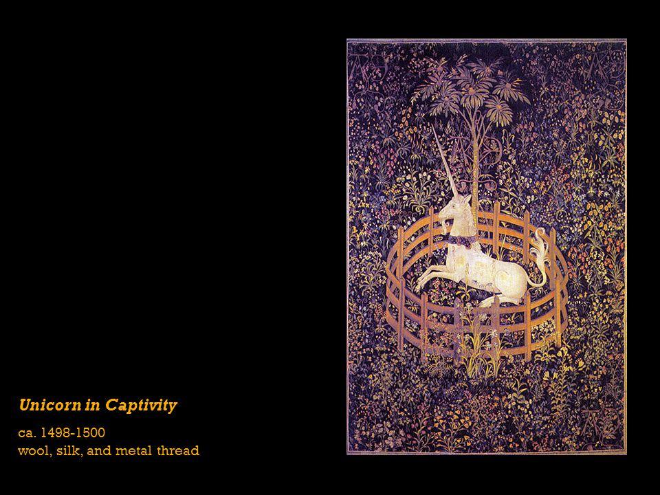 Unicorn in Captivity ca. 1498-1500 wool, silk, and metal thread