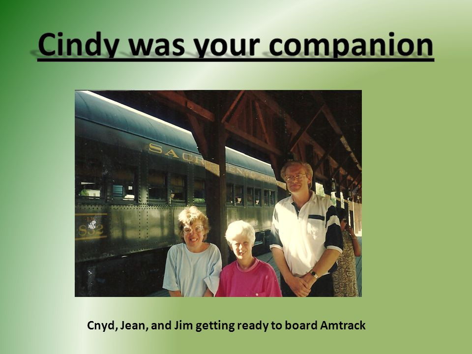 Cnyd, Jean, and Jim getting ready to board Amtrack