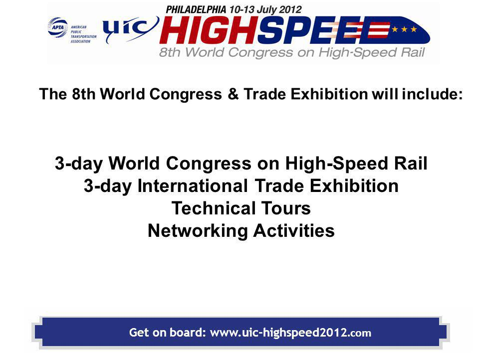 WORLD CONGRESS Congress theme Connecting People Building Sustainable Prosperity High-Speed Rail: