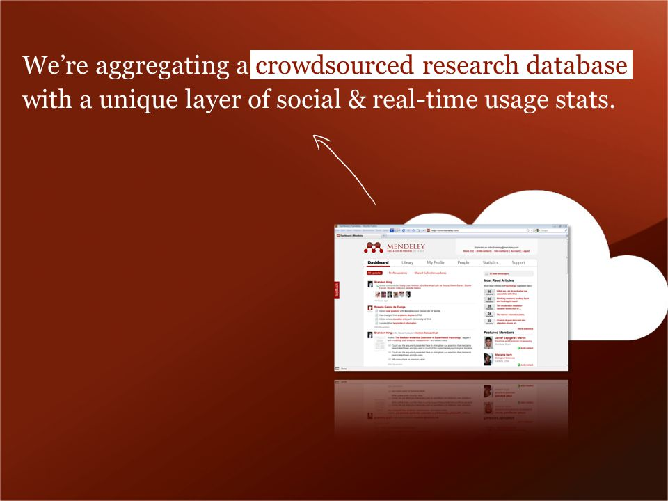 Were aggregating a crowdsourced research database with a unique layer of social & real-time usage stats.