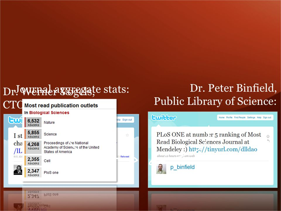 Dr. Peter Binfield, Public Library of Science: Dr.