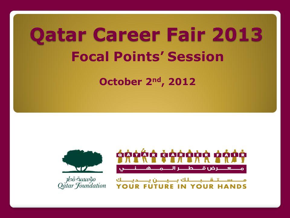 Online Registration The Online Registration for Qatar Career Fair 2013 is open from Sunday, November 18 to Thursday, December 13, 2012 1 1.