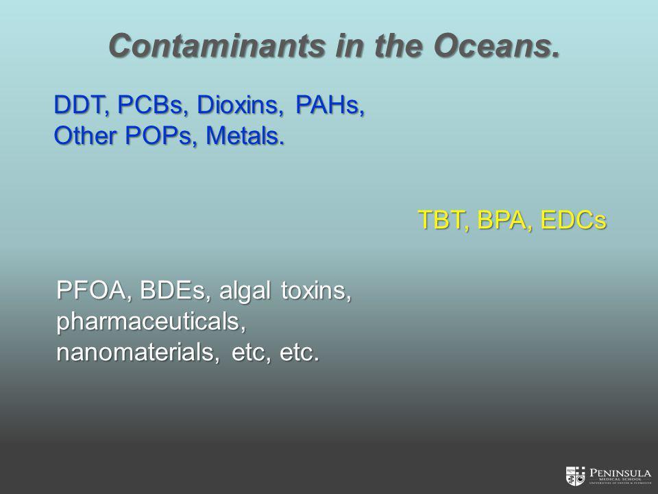 Contaminants in the Oceans. PFOA, BDEs, algal toxins, pharmaceuticals, nanomaterials, etc, etc.