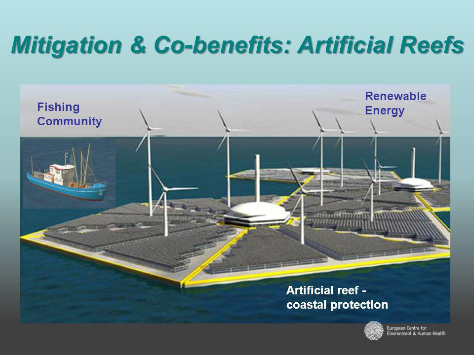 Mitigation & Co-benefits: Artificial Reefs Fishing Community Renewable Energy Artificial reef - coastal protection
