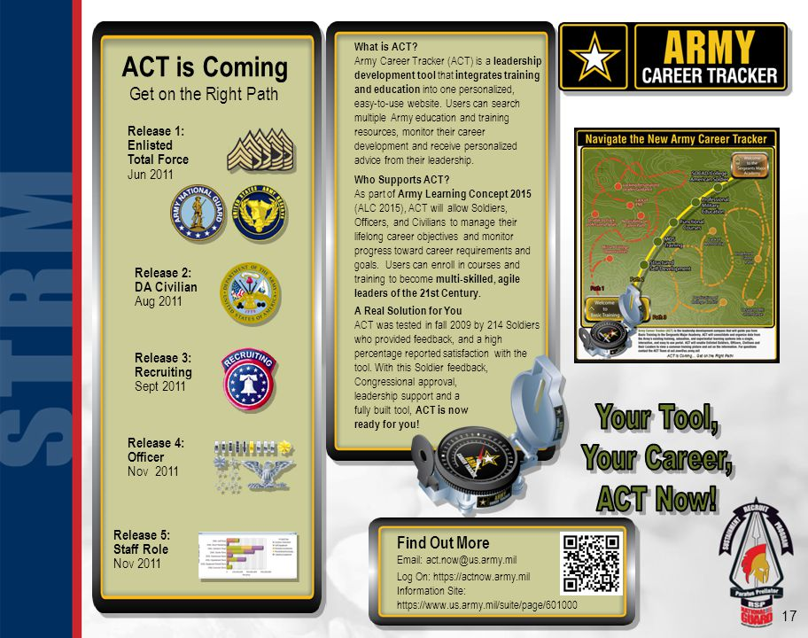 17 ACT is Coming Get on the Right Path Release 1: Enlisted Total Force Jun 2011 Release 4: Officer Nov 2011 What is ACT? Army Career Tracker (ACT) is