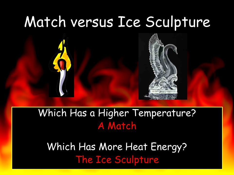 Match versus Ice Sculpture Which Has a Higher Temperature? A Match Which Has More Heat Energy? The Ice Sculpture