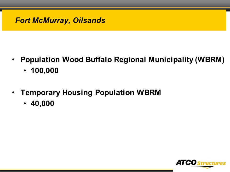 31 Fort McMurray, Oilsands Population Wood Buffalo Regional Municipality (WBRM) 100,000 Temporary Housing Population WBRM 40,000