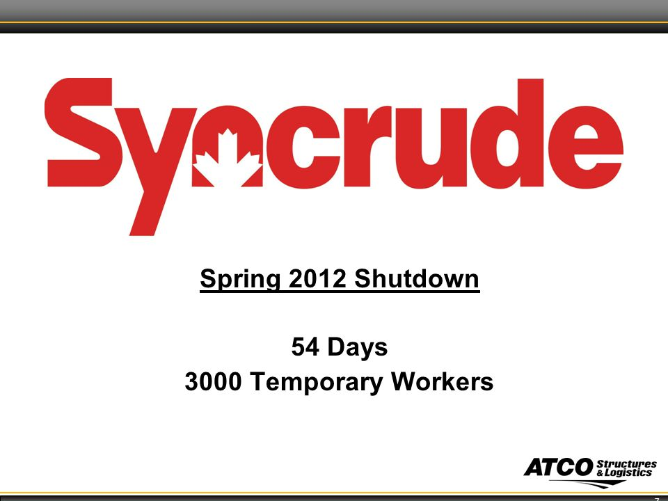 7 Spring 2012 Shutdown 54 Days 3000 Temporary Workers