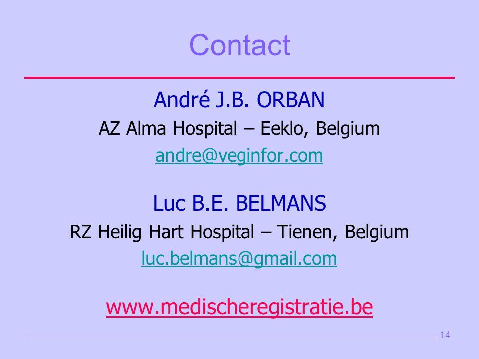 14 Contact André J.B.ORBAN AZ Alma Hospital – Eeklo, Belgium andre@veginfor.com Luc B.E.