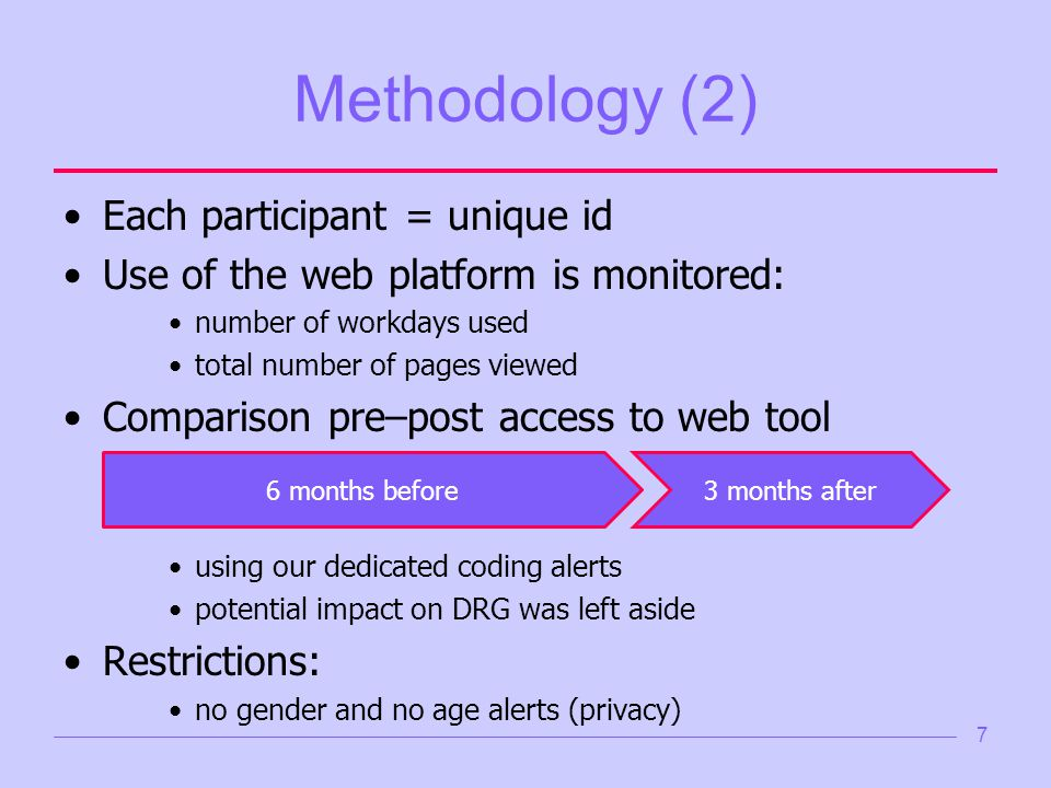 7 Methodology (2) Each participant = unique id Use of the web platform is monitored: number of workdays used total number of pages viewed Comparison pre–post access to web tool using our dedicated coding alerts potential impact on DRG was left aside Restrictions: no gender and no age alerts (privacy) 6 months before3 months after