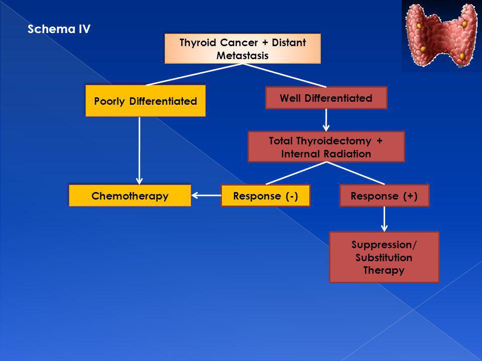 Thyroid Cancer + Distant Metastasis Poorly Differentiated Well Differentiated Total Thyroidectomy + Internal Radiation Chemotherapy Response (-)Response (+) Suppression/ Substitution Therapy Schema IV