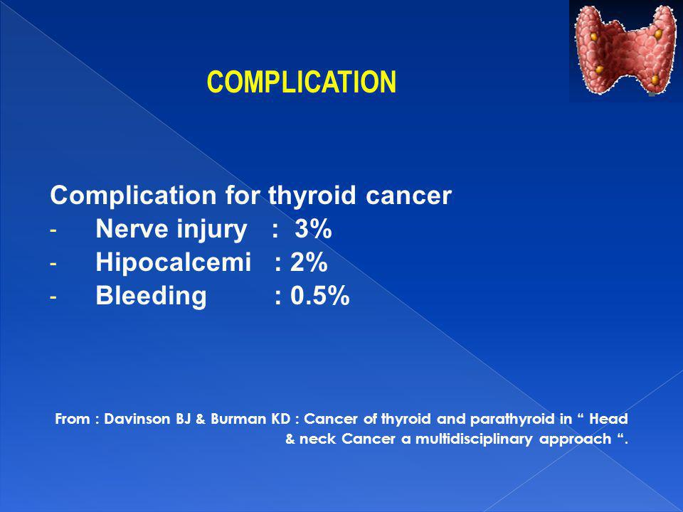 COMPLICATION Complication for thyroid cancer - Nerve injury : 3% - Hipocalcemi : 2% - Bleeding : 0.5% From : Davinson BJ & Burman KD : Cancer of thyro