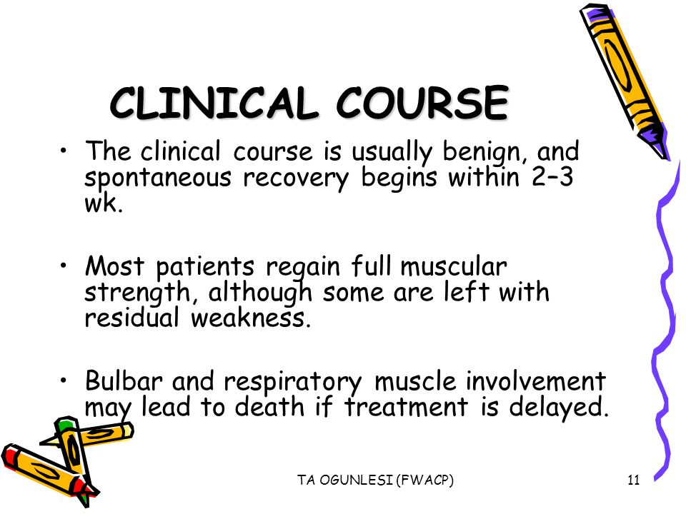 TA OGUNLESI (FWACP)11 CLINICAL COURSE The clinical course is usually benign, and spontaneous recovery begins within 2–3 wk. Most patients regain full