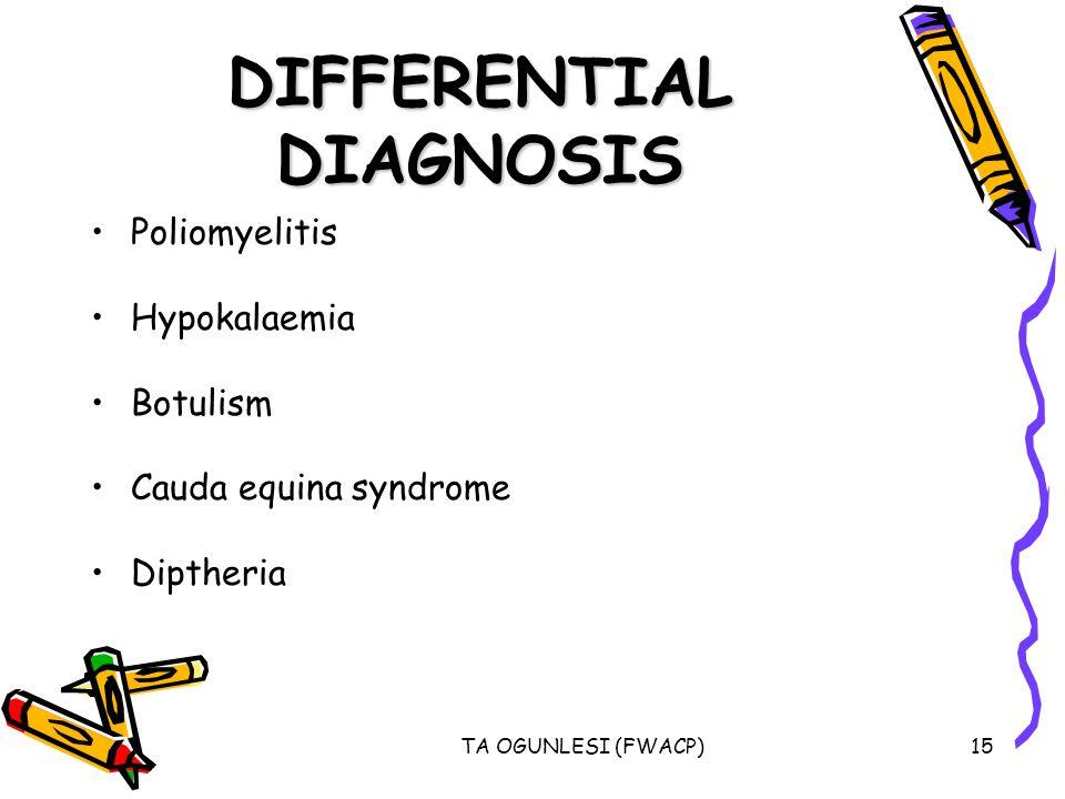 TA OGUNLESI (FWACP)15 DIFFERENTIAL DIAGNOSIS Poliomyelitis Hypokalaemia Botulism Cauda equina syndrome Diptheria
