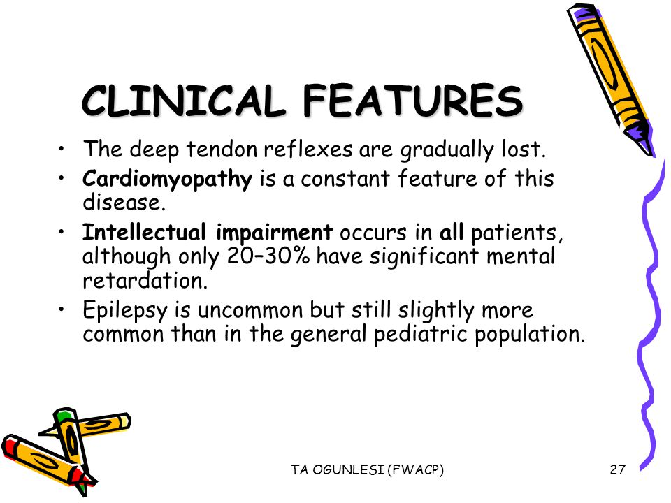 TA OGUNLESI (FWACP)27 CLINICAL FEATURES The deep tendon reflexes are gradually lost.
