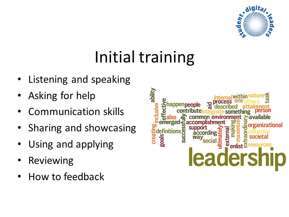 Initial training Listening and speaking Asking for help Communication skills Sharing and showcasing Using and applying Reviewing How to feedback