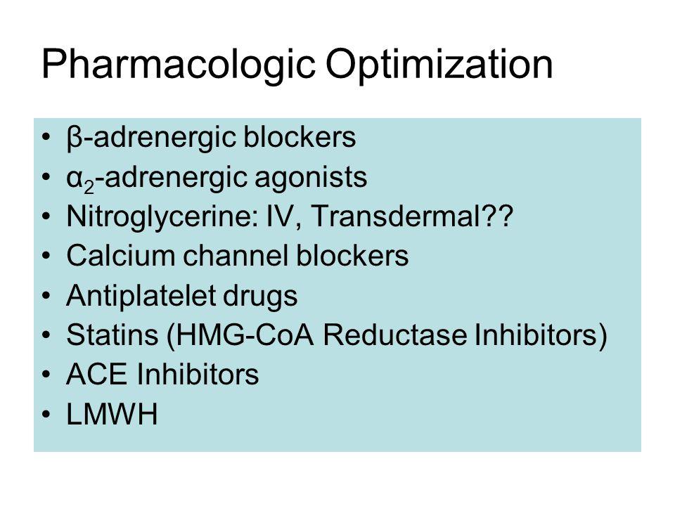 Pharmacologic Optimization β-adrenergic blockers α 2 -adrenergic agonists Nitroglycerine: IV, Transdermal?? Calcium channel blockers Antiplatelet drug