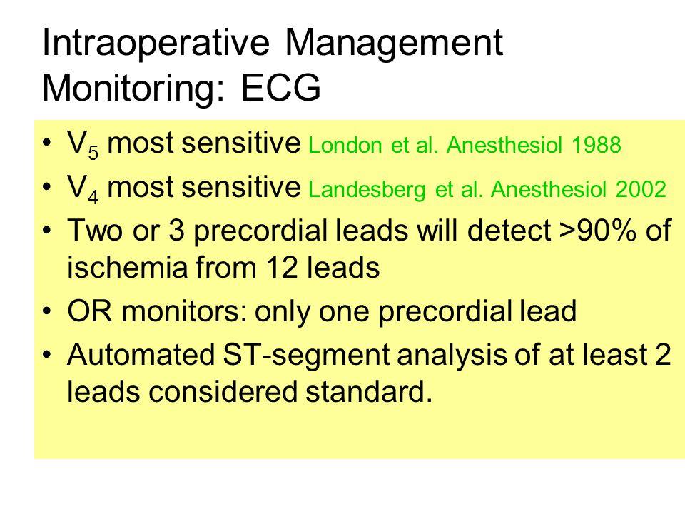 Intraoperative Management Monitoring: ECG V 5 most sensitive London et al. Anesthesiol 1988 V 4 most sensitive Landesberg et al. Anesthesiol 2002 Two