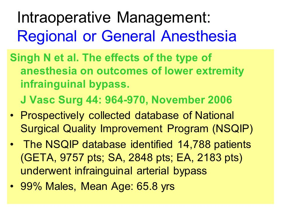 Intraoperative Management: Regional or General Anesthesia Singh N et al.