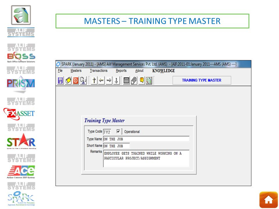 MASTERS – TRAINING TYPE MASTER